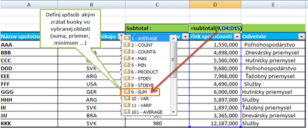 Excel subtotal funkcia